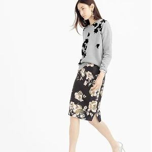 J. Crew Collection Pencil Skirt Painterly Floral